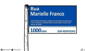 Illustration of an image of a Rio de Janeiro street sign, written 'Marielle Franco Street'. Illustration by: Brum