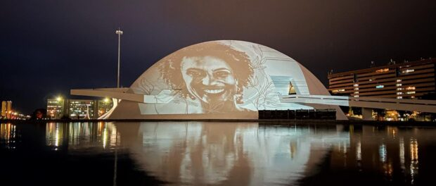 Marielle Franco projection seen at the National Museum in Brasília. Photo by Raphael Sebba