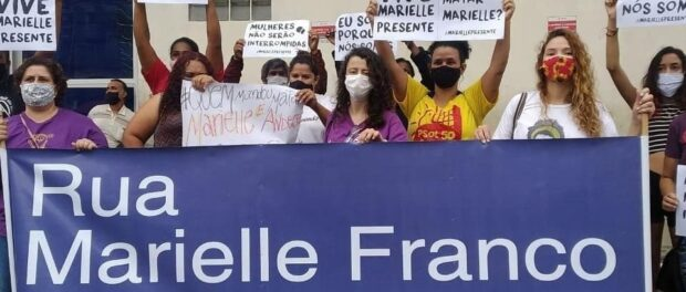 Protesters carry a banner with 'Marielle Franco Street' on it, in the city of Santo André, in the state of São Paulo. Photo by: Mídia Ninja.